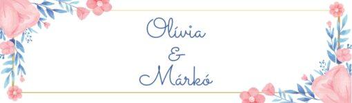Flower esküvői nyak címke